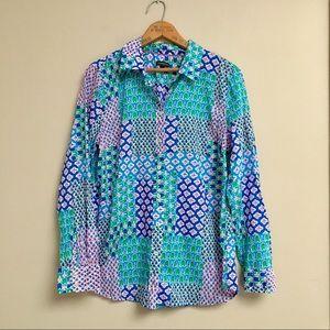 Talbots patchwork & floral print buttondown shirt
